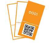Printed tickets with numbers and bar codes